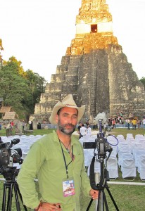 Mark Shea filming the 13th Baktun celebrations at Tikal Mayan Ruins, Guatemala